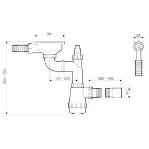 Арматура для одночашевых моек с круглым переливом WK-1-R-AB